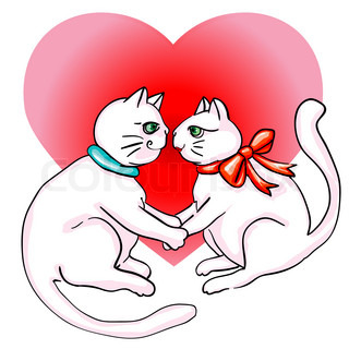 Valentine's Day cute cats in love, clip art isolated on white