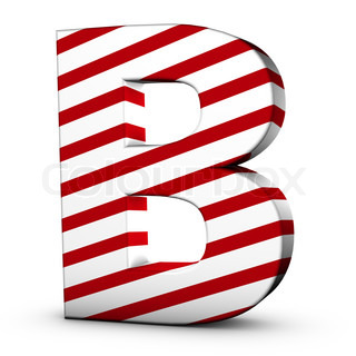 Candy cane letter B isolate on white background