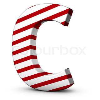 Candy cane letter C isolate on white background