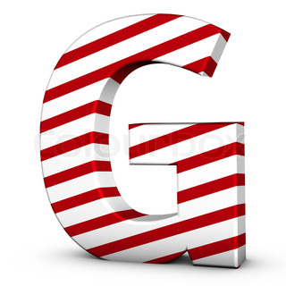 Candy cane letter G isolate on white background