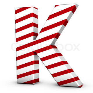 Candy cane letter K isolate on white background