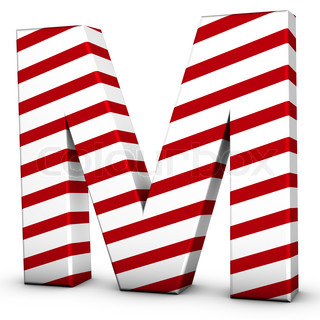 Candy cane letter M isolate on white background