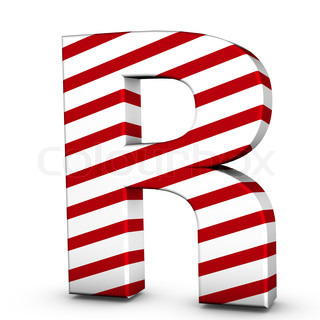 Candy cane letter R isolate on white background