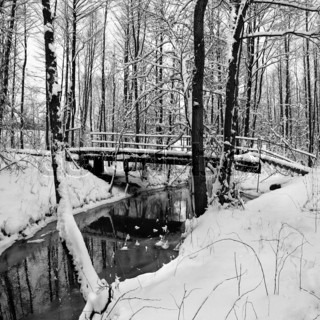Winter landscape with small river and foot-path bridge