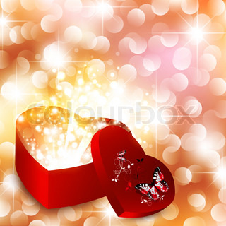 Valentine day background with magic gift box and stars