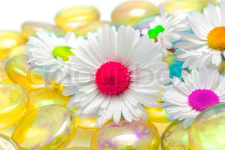 Fantasy Daisy Flowers with Multicolored Middles on Yellow Glass Stones