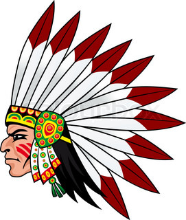 Native indian people with feathers on the head for mascot and emblems