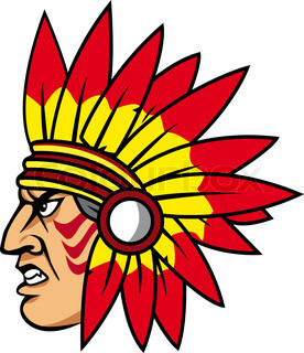 Native indian people with feathers for mascot and emblems
