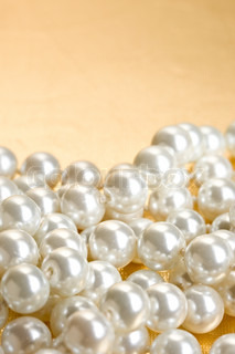 Pile of pearl on the white background stock photo