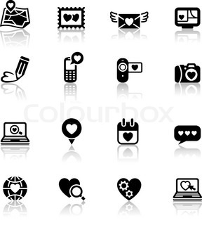 Set valentine's day icons, love on the Internet signs, 10eps