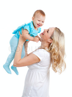 mother holding cute baby over white background