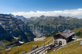 railway station in the Swiss mountains