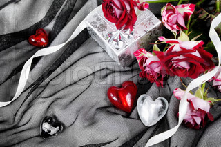 Valentine Still Life with Hearts and Red Roses