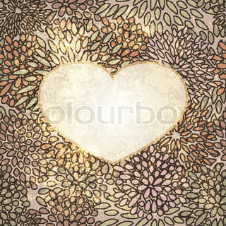 vector heart on seamless floral background on grunge background