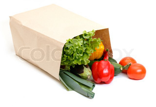 grocery bag full of vegetables