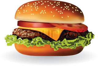 hamburger with meat, lettuce, cheese and tomato