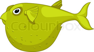 Cartoon Character Fish Isolated on White Background