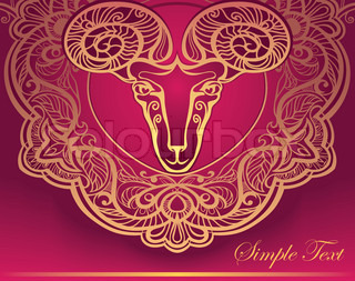 Golden Ram. Horoscope. Decorative background. Aries.Aries gold on a black background. sign of the zodiac
