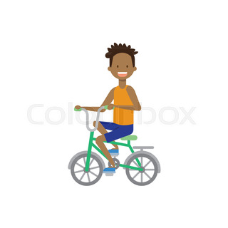 african boy kid riding a bicycle concept. cycle track. Flat style character  ... 0b1efdaec518