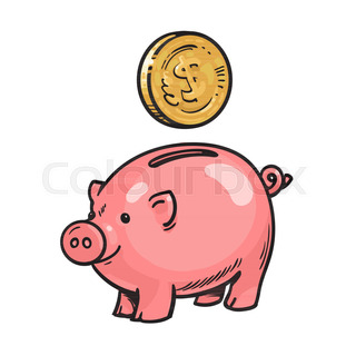 cartoon piggy bank with graduation hat falling money stack of