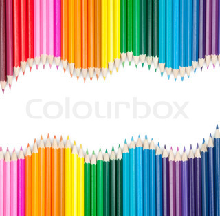 set of color pencils isolated on white