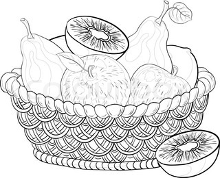 Still life, contours: wattled basket with sweet fruits: apples, pears, kiwi