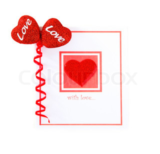 Blank card with red heartisolated on white background, conceptual image of love & Valentine's day holiday