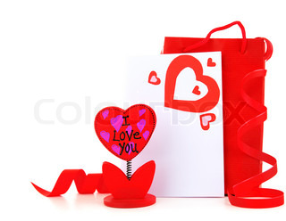 Blank card with red heart & flower holder isolated on white background