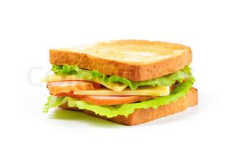 frisches Sandwich auf weißem Hintergrund