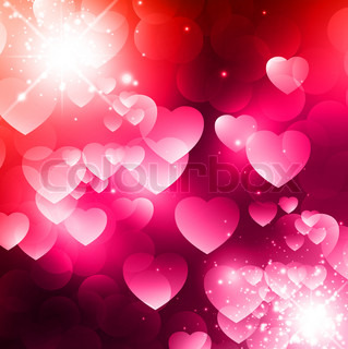 Abstract Valentine background with stars and hearts