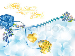 Abstract Valentine`s day frame with forget-me-not flowers and golden hearts, copyspace for your text