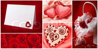Valentine`s day greetings backgrounds collection with hearts