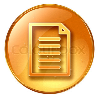 Document icon yellow, isolated on white background