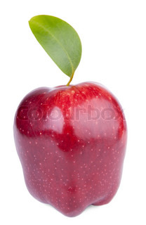 Red delicious apple with green leaf on white background