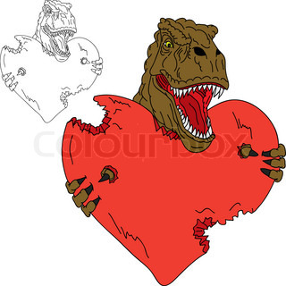vector - dinosaur t rex like Valentine isolated on background