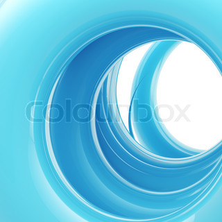 Abstract swirl background: blue tonnel made of glossy twirl