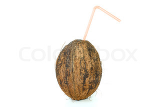 Single coconut with straw isolated on the white background