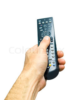 remote control in man's hand isolated on white background