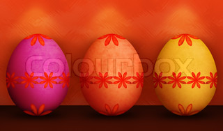 Festive Tango Tangerine Orange, Purple & Yellow Easter Egg With Retro Flower Pattern & Grunge Texture With Green Background and Lighting