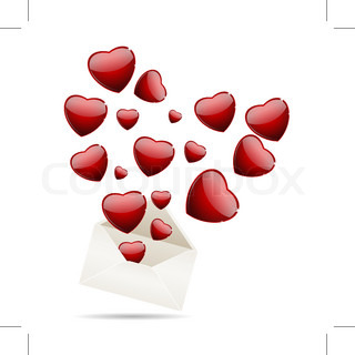 Envelope with hearts for valentine day, vector illustration, eps10, 3 layers
