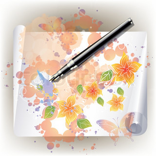 vector beautiful frame with flowers and butterflies