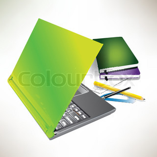 Laptop, books and other instruments for office work Vector illustration