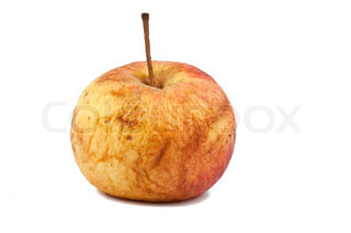 wrinkled apple on the white background