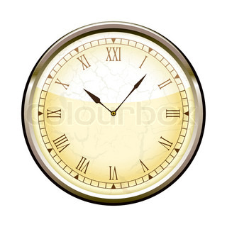 Old Fashioned Clock With Roman Numerals Vector Colourbox