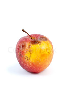 Slightly rotten apple isolated on the white background
