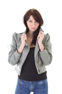 woman in jeans and leather jacket over white background