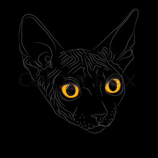 Close-up portrait, sketch a cat breed Sphynx on a black background with bright yellow eyes The Sphynx is a rare breed of cat known for its lack of a coat