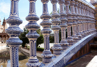A close up of one of the ceramic tile-covered bridges of Plaza de Espana in Sevilla, Spain