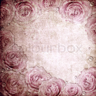 Grunge beige and pink wedding background with ross and pearls