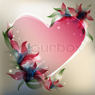 Background with transparent gradient stylized flowers  and heart shape.